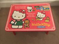 Red & White Hello Kitty Kitsch Bedside Kids Play Table w/Foldable Legs