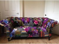 MULTI COLOURED PATCHWORK BUTTONED CHESTERFIELD TWO SEATER SOFA