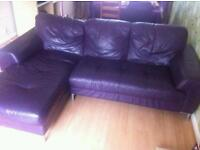 Purple leather corner sofa and swivel chair - Delivery available