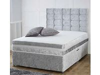RYLEYS Crushed Velvet Divan Bed and Medium Firm Memoryfoam Mattress Single Bed/Double Bed/king