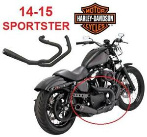 NEW* CARBON OPS SLANT EXHAUST SYS - 133582033 - FOR 14-15 HARLEY DAVIDSON SPORTSTER 2-Into-1 Exhaust System