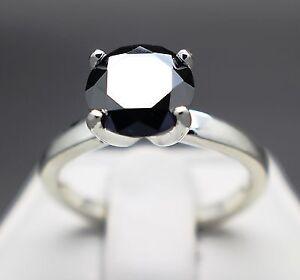 2.34ct 100% Natural Jet Black Diamond Ring Certified value 1410