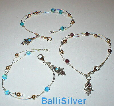 3 Silver GEMSTONE & GOLD FILLED Beads HAMSA BRACELETS