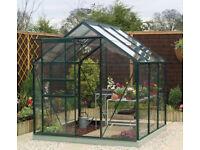 BRAND NEW 6' x 6' Green Painted Aluminium Greenhouse RRP £305 !!!