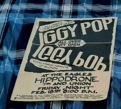 IGGY POP CONCERT POSTER SEATTLE FEBRUARY 18TH, 1983 WITH FRANK INFANTI BLONDIE!
