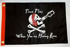TIME-FLIES-WHEN-YOUR-HAVING-RUM-BOAT-FLAG-12X18-NEW