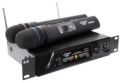 Pyle PDWM2600 2 Channel UHF Wireless 2 Handheld Microphone System