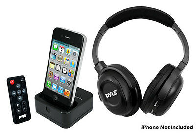 Pyle UHF Wireless Stereo Headphone with Wireless iPhone/iPod Dock Transmitter an Wireless Ipod Stereo