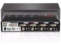 Avocent SwitchView 4SVDVI15 DVI Desktop KVM Switch with 4 Ports and Cables