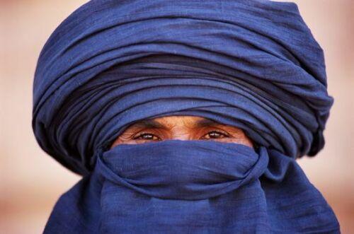 Authentic scarf Taguelmoust indigo touareg blue huge  4.45m/86cm Turban handmade