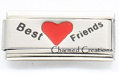 Best Friends Superlink For 9mm Italian Charm Bracelets Matte Heart Laser