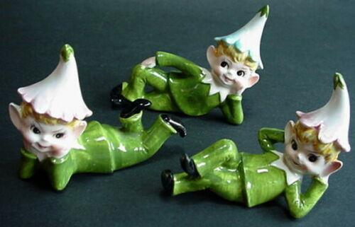 Vintage Japan Ceramic Figurine Elf Pixie Set Of 3 Figure Laying Down Different