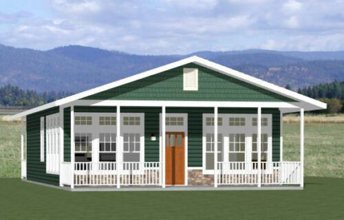 28x36 House -- 2 Bedroom 2 Bath -- 1,008 sq ft -- PDF Floor Plan -- Model 2D