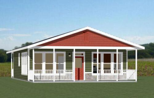 28x34 House -- 2 Bedroom 2 Bath -- 952 sq ft -- PDF Floor Plan -- Model 1