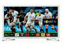 """White samsung 32"""" LED smart wi-fi built HD freeview full HD 1080p."""