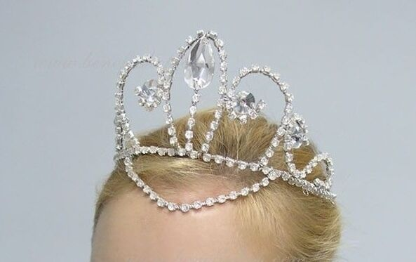 🇺🇸Stock Silver AB Crystals Princess Pro. Ballet Costume Tiara Crown Headpiece