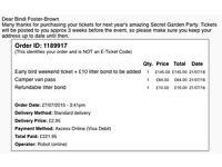 SECRET GARDEN PARTY TICKET £145 plus CAMPERVAN PASS £65