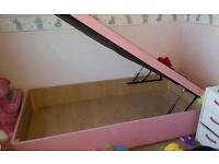 Girls single pink divan bed with storage underneath