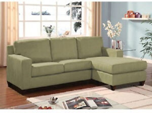 Sectional sofa couch w reversible chaise pebble sage gray for Sage green sectional sofa