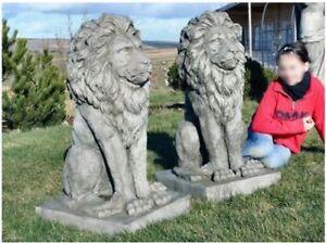 Pair Large Proud Lions Heavy Stone Cast Garden Ornament Statues by DGS UK