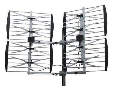 Dual Quad (8) Bay Outdoor UHF/HDTV Bowtie Antenna - 80 Mile