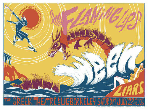 Flaming Lips Ween Liars Greek Theatre UC Berkeley 2006 Poster Manny Silva RARE