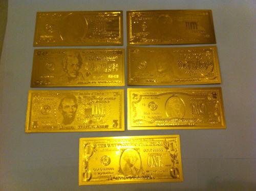 7* 24 KT  99.9% GOLD BILLS $1-$2-$5-$10-$20-$50-$100 &EACH IN  PVC BILL HOLDER