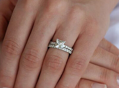 2.90 Ct. Natural Princess Cut Pave Diamond Bridal Engagement Set GIA Certified