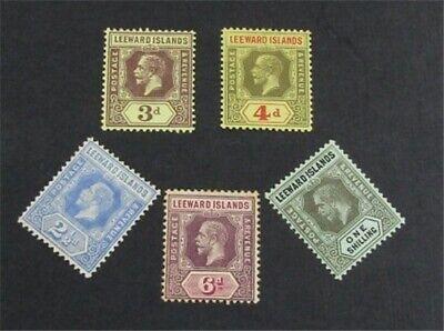 nystamps British Leeward Islands Stamp # 50-54 Mint OG H $34   L23x1944