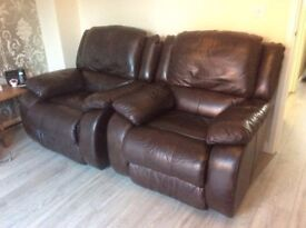 2 brown leather recliner chairs!!!1 quick bargain