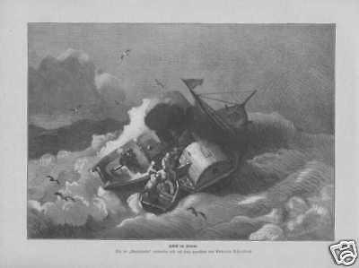 Schiff im Sturm Schaufelraddampfer HOLZSTICH von 1885