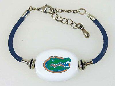 Fenton Collegiate Logo Leather Cord Bracelet Florida Gators Milk Glass NCAA Bead
