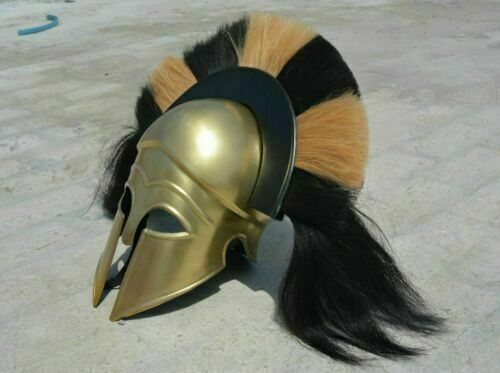 Medieval Greek Corinthian Helmet With Plume Anthenian Spartan Armor Helmet
