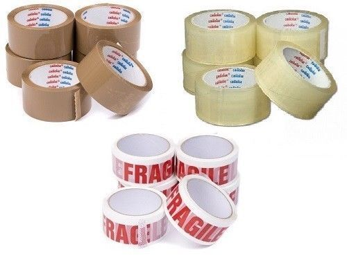 Rolls Low Noise Easy Tear Clear Sticky Packaging Tape 48mm x 66m New
