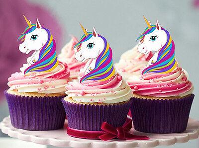 12 STAND UP MINI RAINBOW UNICORN EDIBLE CUPCAKE CAKE DECORATION IMAGES - Rainbow Cupcake Stand