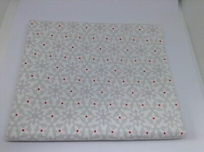Christmas Fabric white and pale grey Snowflakes. 1M X 112cm.