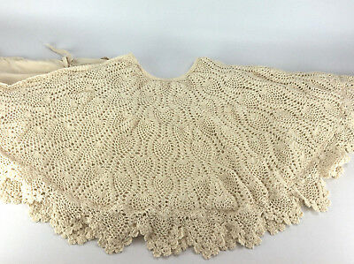 Vintage Crocheted Lace and Lined Large Beige Christmas Tree Skirt