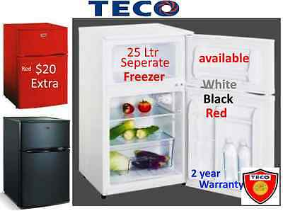 Teco 2 Door Compact Bar Fridge -Freezer - Big 25 L Freezer-White,Black and Red