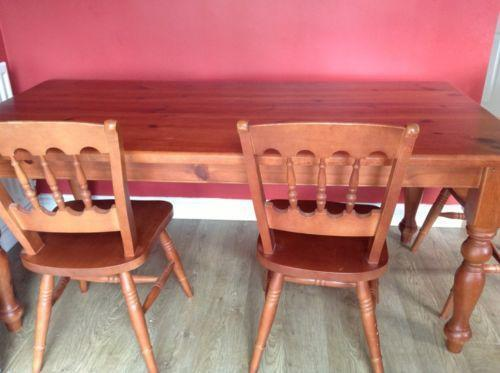Solid Pine Dining Table And Chairs EBay