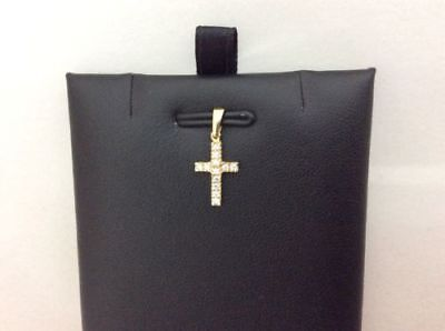 (14K Real yellow Gold Very small Cross Charm Pendant Cubic Zirconia Baby Children)