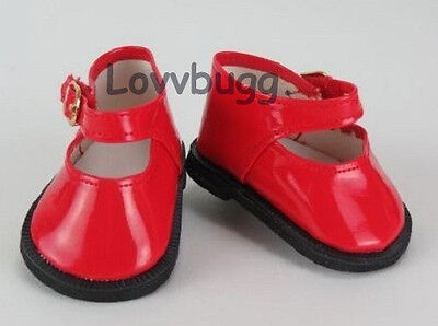 "Lovvbugg Holiday Red Patent Mary Janes for 18"" American Girl or Bitty Baby Doll Shoes"