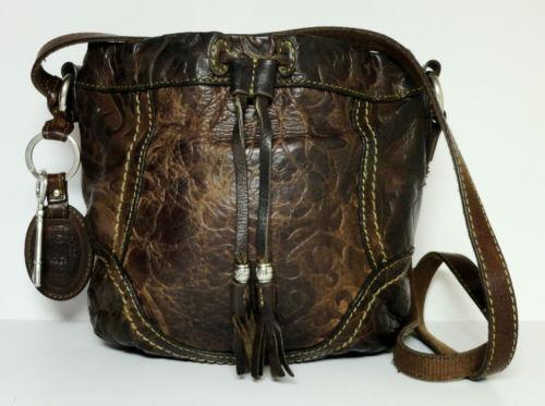fossil handbag leather crossbody patchwork hobo ebay