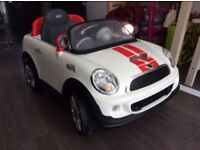 Kids White And Red Mini Cooper Ride On Electric Car 6V