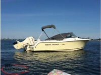 2006 SEA HUNT 220 DC WITH 150 HP JOHNSON DFI AND 2015 TANDEM TRA