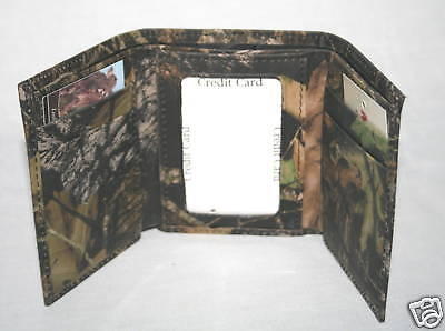 Mossy Oak Camo Leather Tri-Fold Billfold, Men