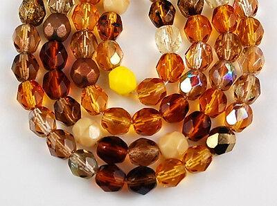50 czech fire polished glass beads topaz