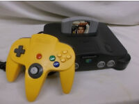Nintendo 64 (Grey) with original cables and yellow controller!