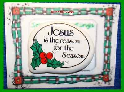 Christmas PIN #0071b Jesus Is The Reason For The Season Ceramic TacLapel HOLIDAY