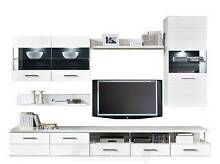 White Gloss TV Entertainment Cabinet Set 5 pieces A8 Malaga Swan Area Preview