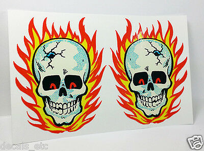 Pair of HOT HEAD Flaming Skull Vintage Style DECAL, Sticker, rat rod, racing ()